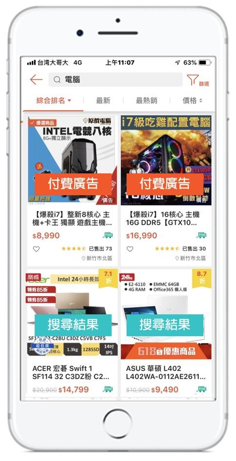 shopee虾皮关键字广告介绍 - 广告出现的地方