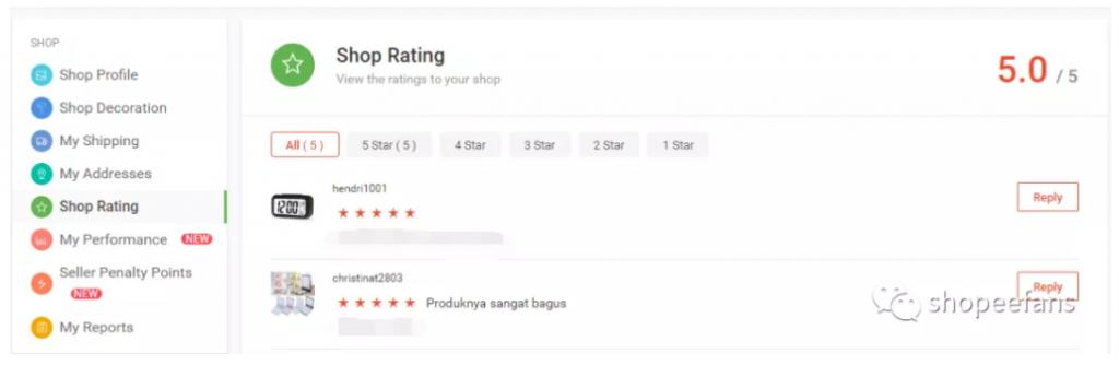 Shopee虾皮卖家评价和买家评价修改  - 查看订单评价和回复买家评价