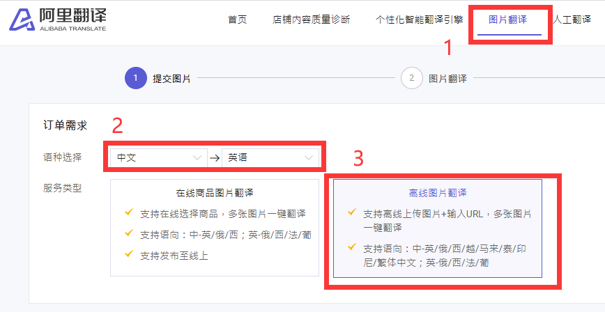 图片翻译:点击图片翻译,设置语种选择,然后选择离线图片翻译